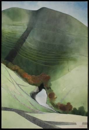 Valley and River, Northumberland 1972 by Edward Burra 1905-1976